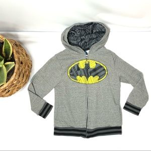 Batman Grey ZIP Up Hoodie Jacket Boys 7/8 Pockets